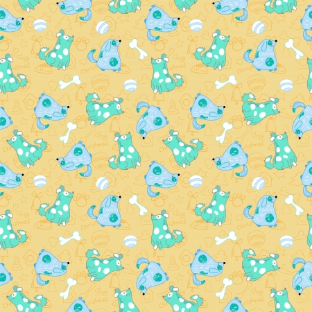 Kid seamless pattern with cartoon blue dogs Vector