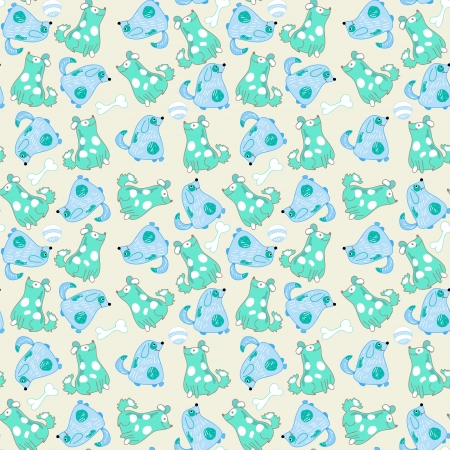 Kid seamless pattern with cartoon blue dogs Stock Vector - 18757124