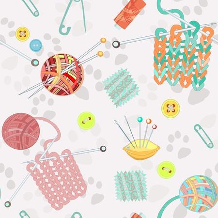 Retro naadloze patroon met de hand getekende breien accessoires. illustratie