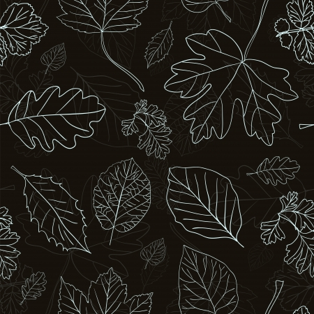 drawing on the fabric: Vintage black background with tree leaves hand drawn silhouettes. Seamless pattern. illustration