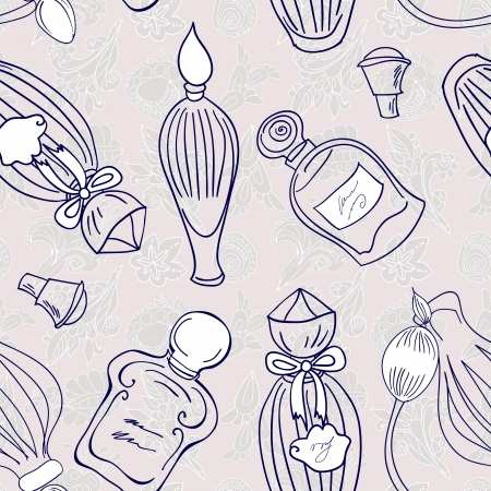 Hand drawn perfume fragrances bottles. Vintage illustration Vector