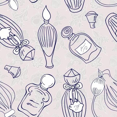 fragrances: Hand drawn perfume fragrances bottles. Vintage illustration