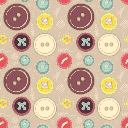 Vintage buttons sew seamless pattern for your web design Vector