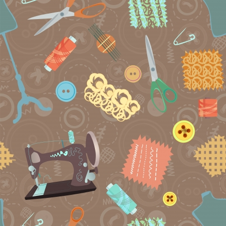Retro seamless pattern with sewing accessories - scissors, buttons and sewing machine