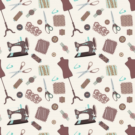 yarn: Retro seamless pattern with sewing accessories - sewing tailor and mannequins