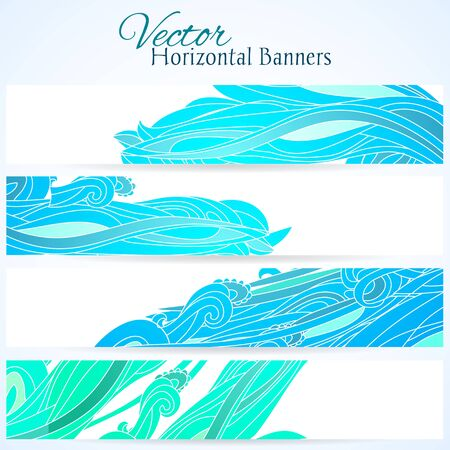 Set of three horizontal banners with water hand drawn waves Vector
