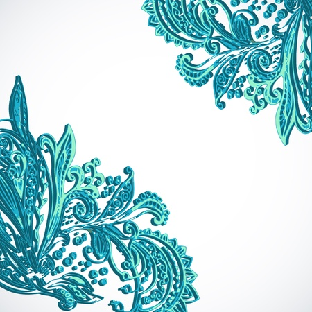 Vintage blue ethnic vector ornament background Stock Vector - 19870854