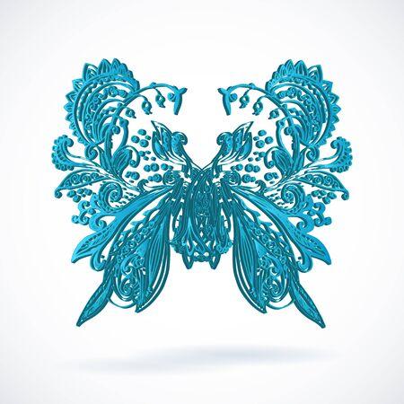 batterfly: Vintage blue ethnic vector batterfly ornament background