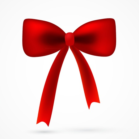 Vector realistick red satin bow for your card, web design Illustration