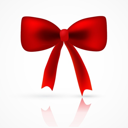 Vector realistick red satin bow with reflect shadow for your card, web design