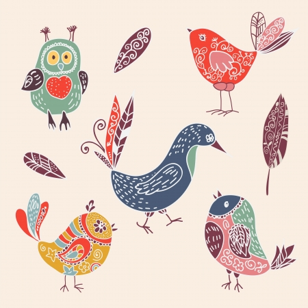Color vintage cute cartoon birds doodle set. vector illustration Illustration