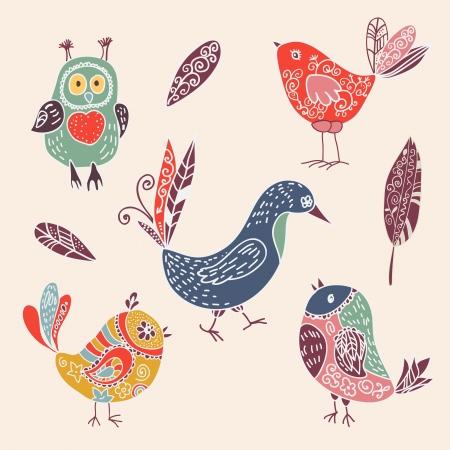 sparrows: Color vintage cute cartoon birds doodle set. vector illustration Illustration