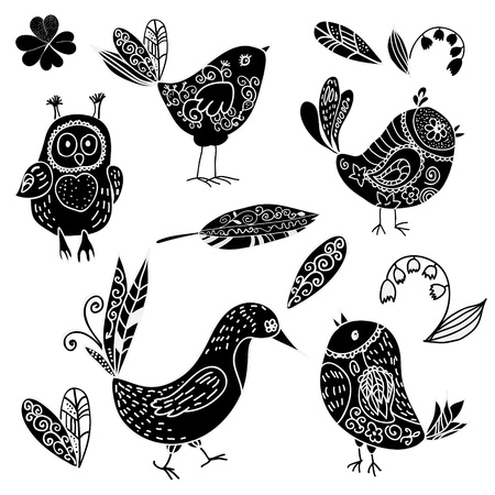Black silhouettes bird and flower doodle set . vector illustration Ilustracja