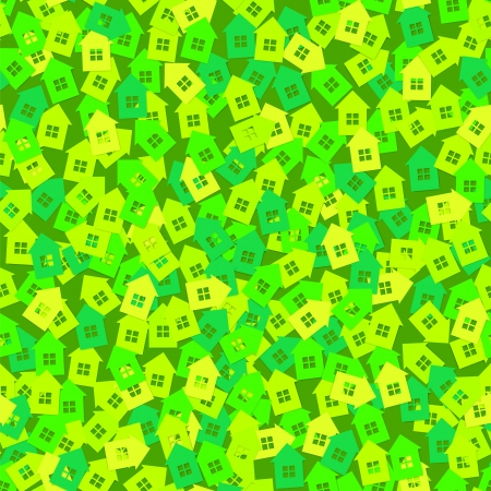 green street sign: Green abstract background with 3D paper cut houses seamless pattern