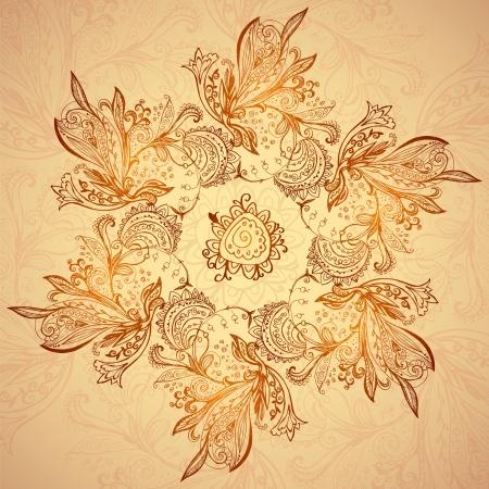曼陀羅: ビンテージ エスニック ベクトル マンダラ背景髪飾り  イラスト・ベクター素材