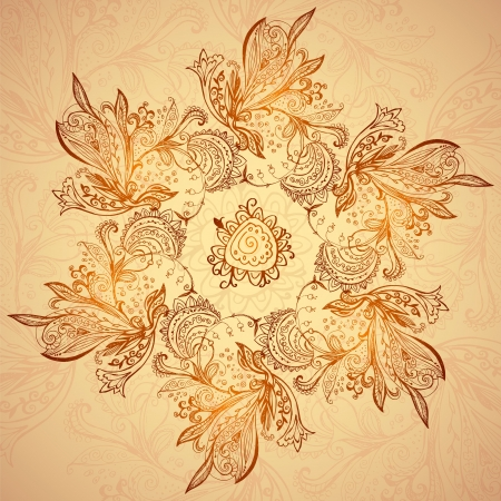 Vintage ethnic vector ornament mandala background