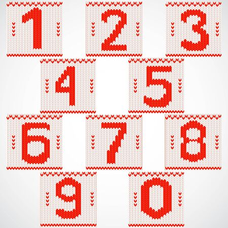 Vintage red numbers set on knitted background. Vector illustration. Vector