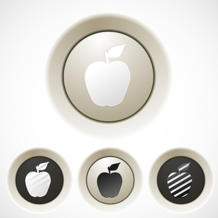 reflection internet: White buttons set with apple silhouette for your web design Illustration
