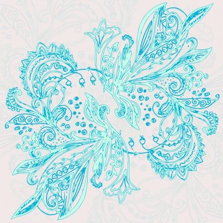 Azul ?tnica vetor ornamento Fundo do vintage Ilustra��o