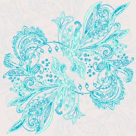 Vintage blue ethnic vector ornament background