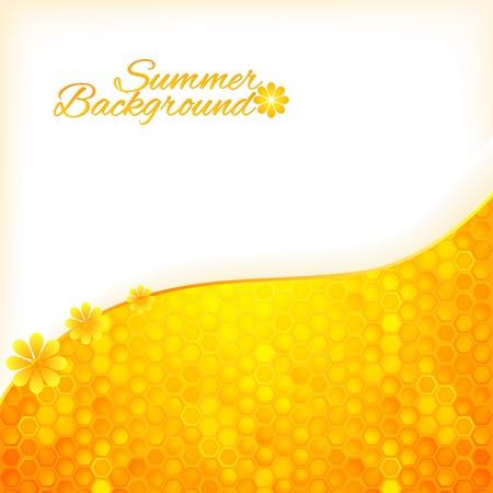 kam: Abstract zomer achtergrond met honing textuur Stock Illustratie