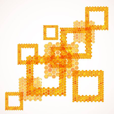 Honey comb: Abstract summer background with squares from honey texture Illustration