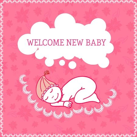 New baby girl shower invitation. Vector illustration Vector