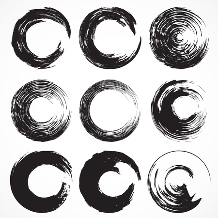 Vector set 5 of grunge circle brush strokes for frames, icons, design elements Ilustração