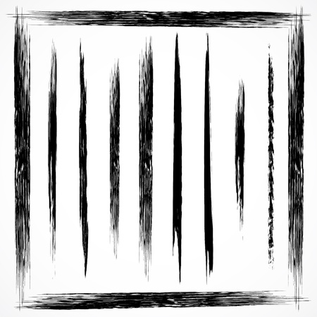 Vector set of grunge line brush strokes. Set No 1