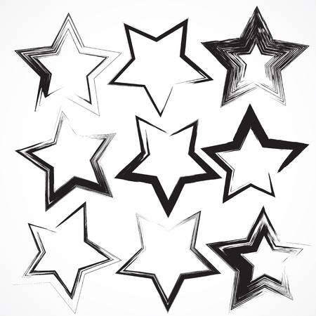 Vector conjunto de pinceladas estrela grunge.