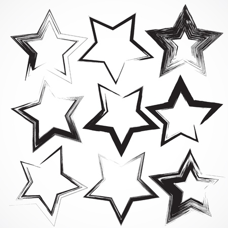 Vector set of grunge star brush strokes.