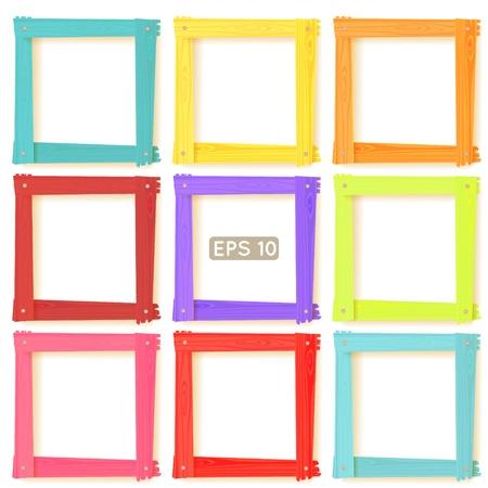 marco madera: 9 cuadrada de madera foto marcos de color del arco iris conjunto para el diseño de su web