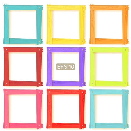 art gallery interior: 9 wooden square picture frames color rainbow set for your web design