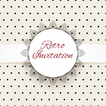 Vintage polka dots vector ornament card with lace label and striped grunge background