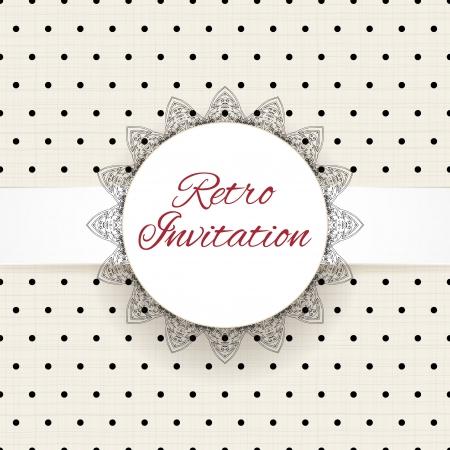 Vintage stippen vector ornament kaart met kant label en gestreepte grunge achtergrond Stock Illustratie