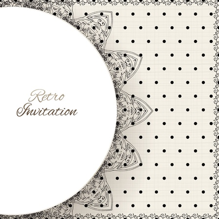 Vintage polka dots vector ornament card with lace label and striped grunge background Stock Vector - 20194326