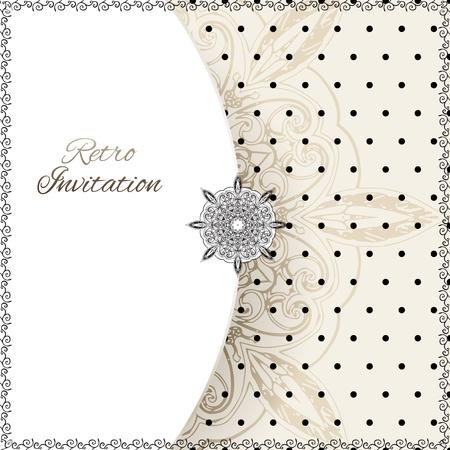 Lunares vector tarjeta ornamento de la vendimia con la etiqueta de encaje y el fondo grunge con rayas