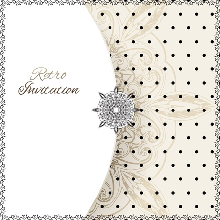 greeting card invitation wallpaper: Vintage polka dots vector ornament card with lace label and striped grunge background