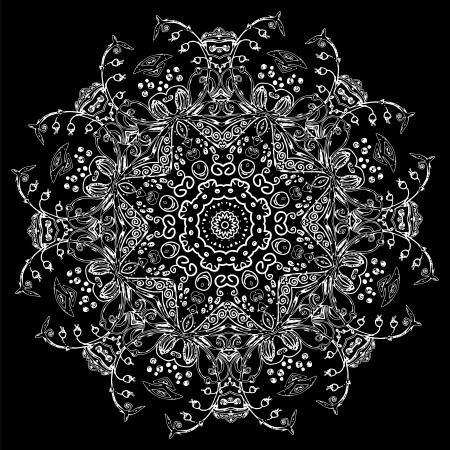 Black Vintage ethnic vector ornament mandala background card Vector