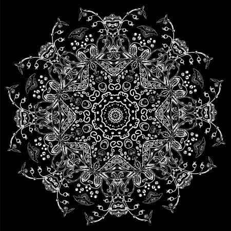 tribales: Ornamento vector fondo de la tarjeta mandala étnica Vintage Negro Vectores