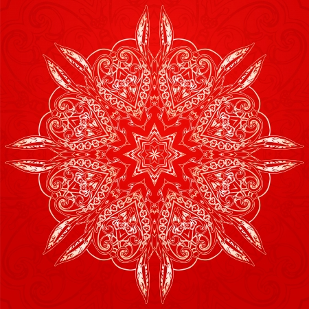 Red Vintage ethnic vector ornament mandala background card Vector