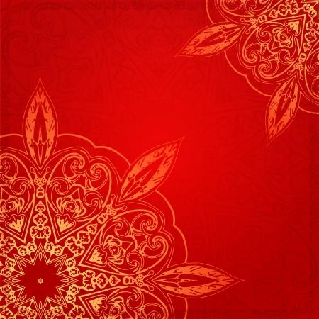 マンダラ背景カード赤ビンテージ エスニック ベクトル飾りカード