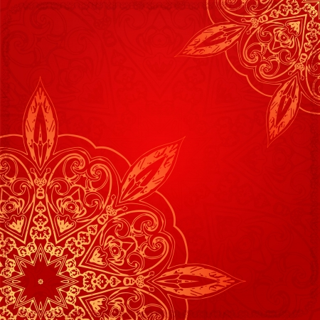 Red Vintage ethnic vector ornament  card with mandala background card Vector