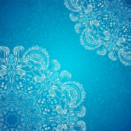 Blue Vintage ethnic vector ornament  card with mandala background card Stock Vector - 20194296