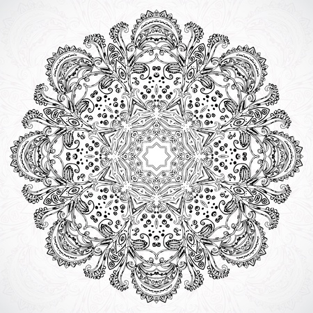 ancient india: Black and white Vintage ethnic vector ornament mandala background card