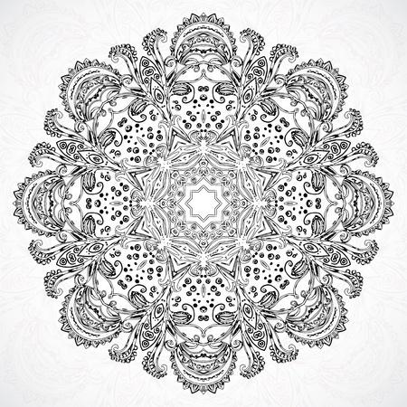 indien muster: Schwarz-Wei�-Klassiker ethnischen Vektor Ornament Mandala-Hintergrund-Karte
