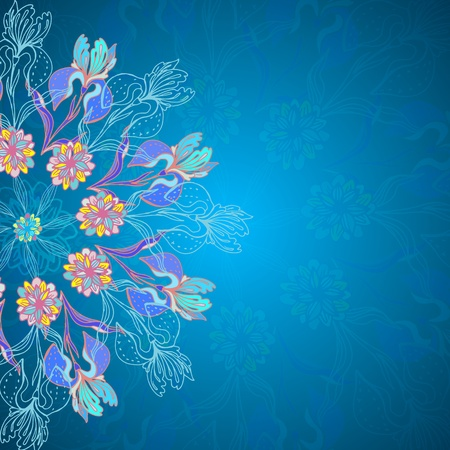 Blue floral ornament mandala background card with doodles iris Vector