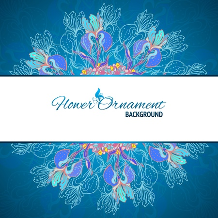 Blue floral ornament mandala background card with doodles iris and horizontal place for your text Vector
