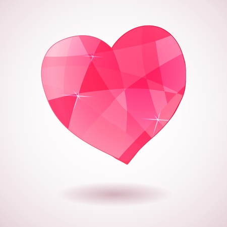 Pink geometric heart with triangles, card for love events Vector