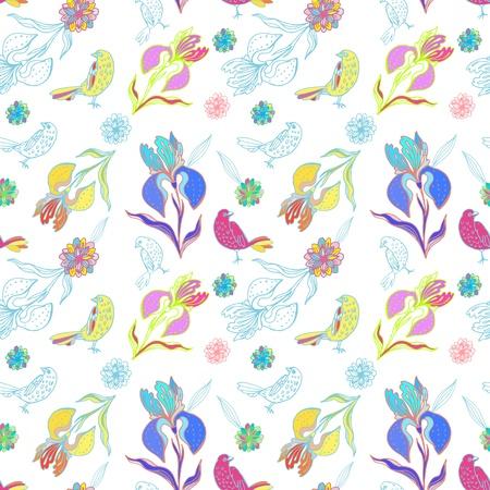 落書きのアイリスの花と鳥のヴィンテージのシームレスな花柄